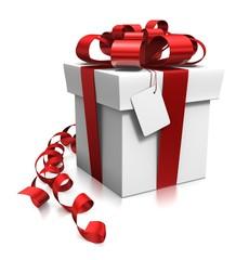 Paquet cadeau et étiquette 3d