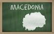 outline map of macedonia on blackboard