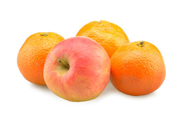 Oranges and apple isolated