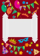 Purim background with Torah in the midle ; vector illustration