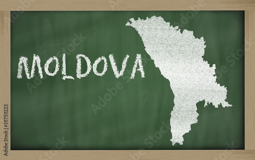 outline map of moldova on blackboard