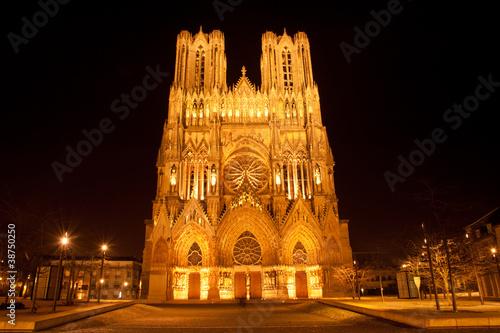 Famous Notre-Dame de Reims at night, France
