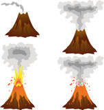 Different stages of volcano icon set on white