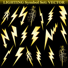 Gold lightning set isolated on black. Vector