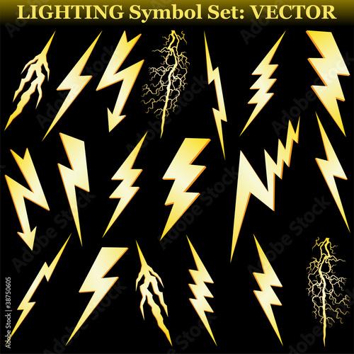 Gold lightning set isolated on black. Vector