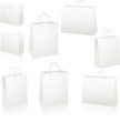 Blank white paper shopping bags SET
