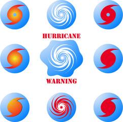 Modern hurricane icon, sign set isolated on white