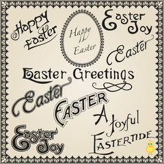 Vintage Easter Calligraphic Wishes and Greetings.