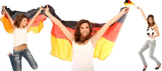 Frauen mit Fußball Flaggen