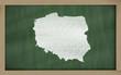 outline map of poland on blackboard