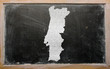 outline map of portugal on blackboard