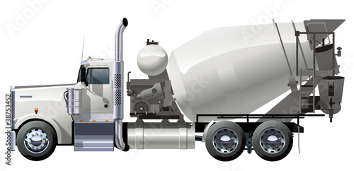 Vector concrete mixer truck