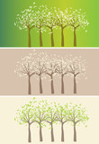 3 lines of stylized trees