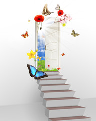Spring is behind the door, concept of new start of nature cycle