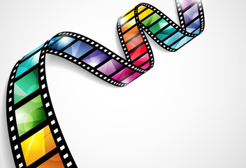 EPS10 vector design with a bright and colorful film strip