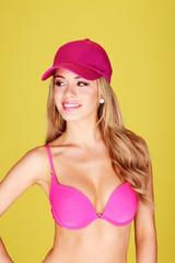 sexy blonde wearing pink bra