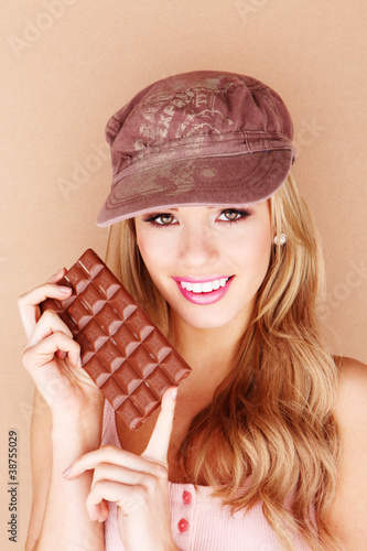 woman holding chocklate