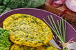 Frittata con spinaci - omelette with spinach, close-up