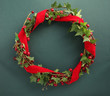 Christmas wreath with velvet ribbon