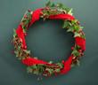 Christmas wreath with velvet ribbon