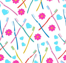 seamless pattern with tooth-brushes