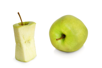Stub and whole green apple