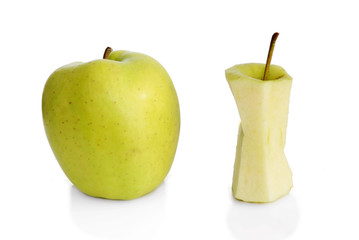 Slim and fat green apples