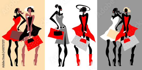Retro fashion women with bags. Vector Illustration.