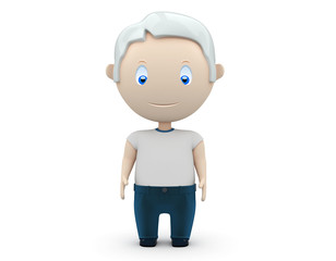 Senior in t-shirt and jeans. Social 3D characters. Isolated.
