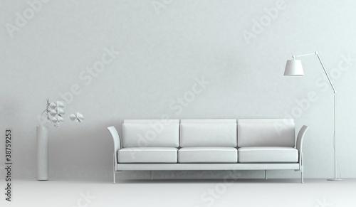Modell - Sofa mit Vase und Stehlampe