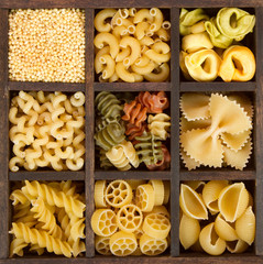 an assortment of italian pasta