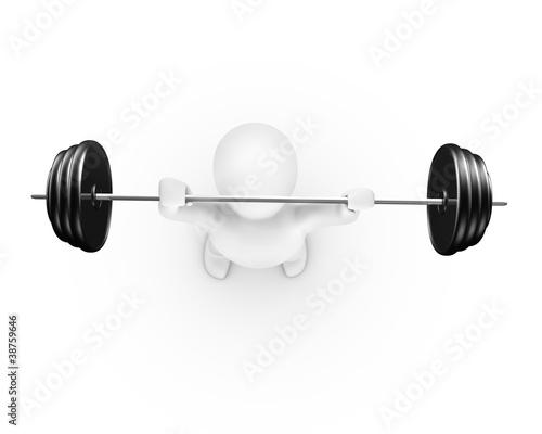Man lifting weight top view