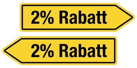 2 Pfeilschilder gelb 2% RABATT