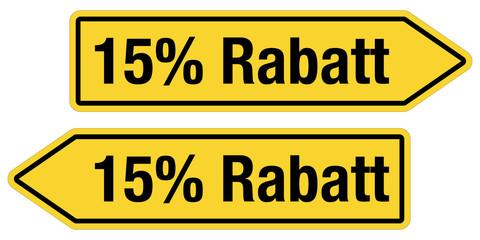 2 Pfeilschilder gelb 15 % RABATT
