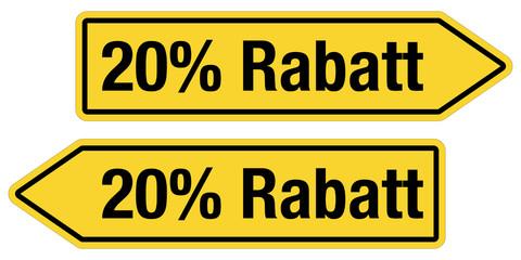 2 Pfeilschilder gelb 20% RABATT