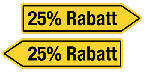 2 Pfeilschilder gelb 25 % RABATT