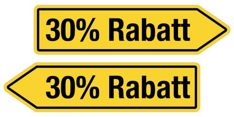 2 Pfeilschilder gelb 30 % RABATT