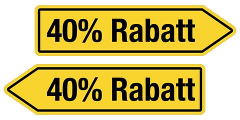 2 Pfeilschilder gelb 40 % RABATT