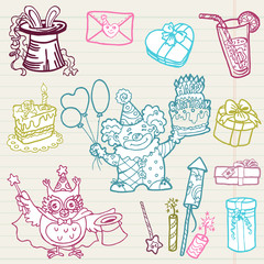 Hand drawn Birthday Celebration Design Elements - for Scrapbook,