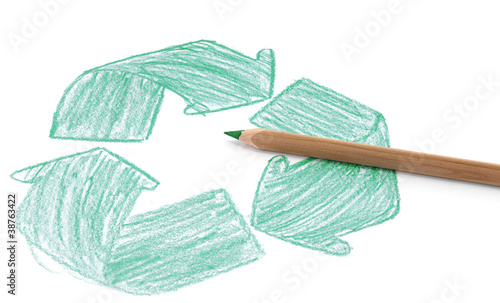 Recycle sign drawing on white background.