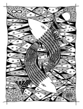 Fish in the sea. Graphic drawing