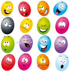 cartoon eggs with many expressions