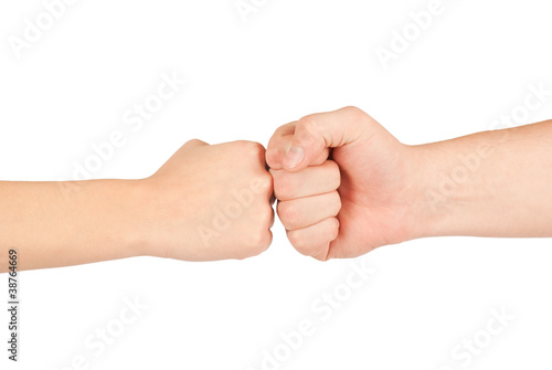 Two hands: man and woman, isolated on white
