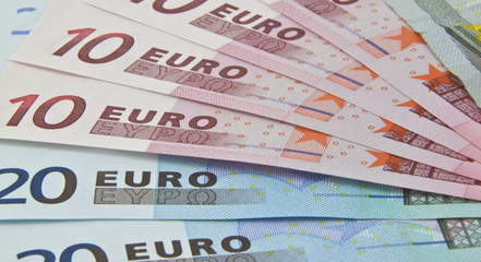 euro bank notes fanned out