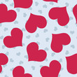 Valentines background pattern with blue and dark pink hearts