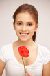 beautiful woman with red flower
