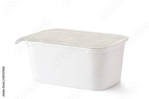 Plastic rectangular container with foil lid