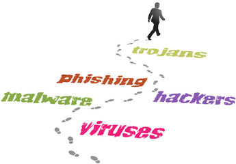Security business man virus malware threat