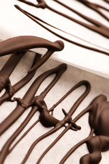 Chocolate traces on a white paper