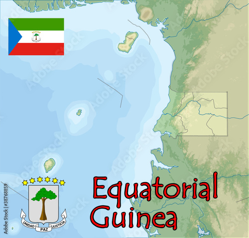 equatorial guinea map flag emblem